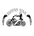 bikers theme label with skeleton on motorbike vector image
