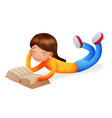 cute happy girl smiling reading book lying on vector image