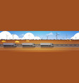 line of cargo semi truck trailers driving road vector image