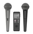 Microphone and dictaphone flat icons vector image