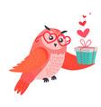 Owl bird in heart shape glasses holds present box vector image