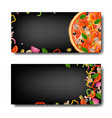 pizza banner with black background vector image