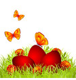 red easter eggs vector image