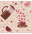 Seamless pattern with coffee and hearts vector image