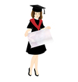 Student in Cap and Gown with a poster vector image