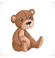 Toy teddy bear sit on floor isolated on white vector image