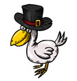 cartoon image of bird wearing hat vector image