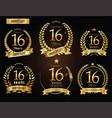 anniversary golden laurel wreath 16 years vector image vector image