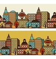 Town seamless pattern with hand drawn houses vector image