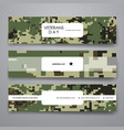Set of modern design banner template in veterans vector image
