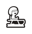 Flat icon in black and white child on sled vector image