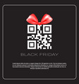 black friday sale poster with qr code with ribbon vector image