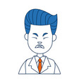businessman character face male angry vector image
