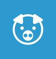 pig icon white on the blue background vector image