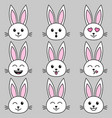 set of white cute rabbits on grey background vector image