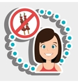woman cartoon fast food prohibited vector image