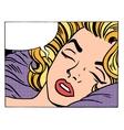 Beautiful woman blonde sleeps and dreams vector image