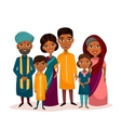 Big happy indian family cartoon concept vector image