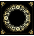black background with golden floral frame vector image