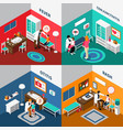 child diseases colorful isometric compositions vector image