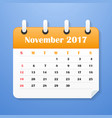 european calendar for november 2017 vector image