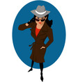 Female secret agent or private detective vector image