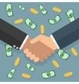 Handshake money bg in flat style vector image