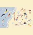 people at beach or seashore relaxing and vector image