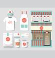 restaurant cafe set shop front design flyer menu vector image