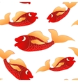 Seamless pattern red little fishes vector image