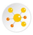 Yellow molecular model icon circle vector image