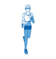 woman run with wearable technology headphones vector image