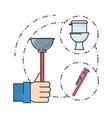 flat set icon bathroom and tools plumbing vector image
