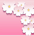 Abstract floral pink background with 3d flowers vector image vector image
