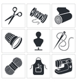 Sewing clothing manufacture Icons set vector image