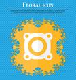 Speaker volume sign icon Sound symbol Floral flat vector image