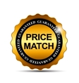 Price Match Guarantee Gold Label Sign Template vector image