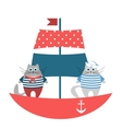 Cats sailors on the boat vector image