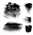 Black textured brush strokes on white background vector image