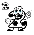 Cute number 2 with a hexagonal soccer pattern vector image