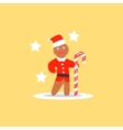 Gingerbread Man Christmas in Santa Hat vector image