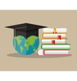 Globe graduation cap books diploma education vector image