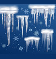 realistic icicles blue background set vector image