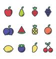 Fruit icon set flat design isolated vector image