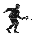 Paintball player icon in black style isolated on vector image