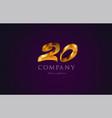 20 twenty gold golden number numeral digit logo vector image