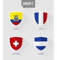Brazil Soccer Championship 2014 Group E flags vector image