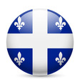 Round glossy icon of quebec vector image