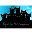 cat black background blue vector image