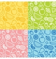 Four fruits seamless pattern set vector image